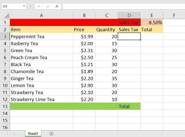 Printscreen of absolute reference in Excel example