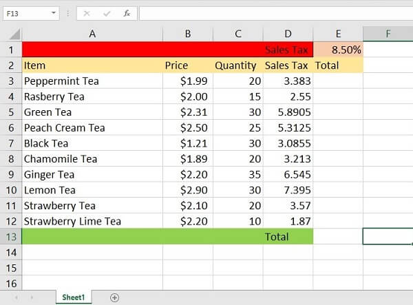 Printscreen of absolute reference in Excel example - formula expanded