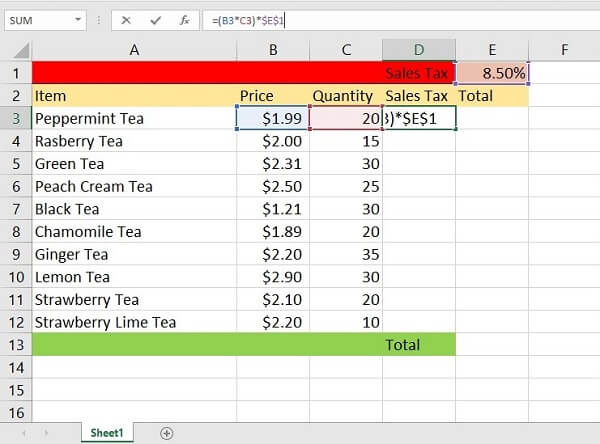 Printscreen of absolute reference in Excel example - formula