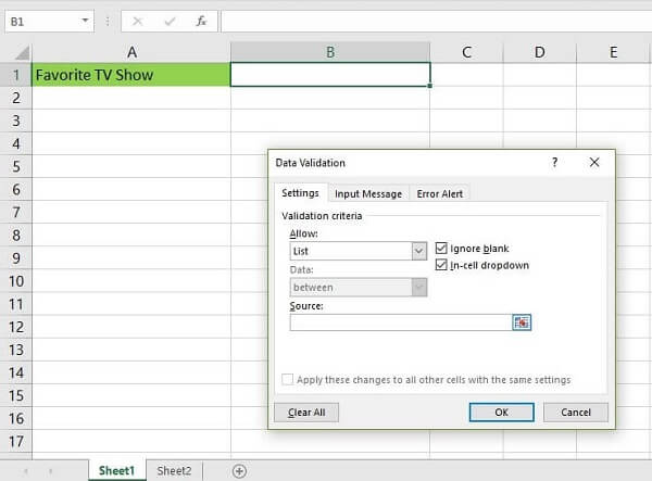 Printscreen of drop down list in Excel - choose the variables for your list