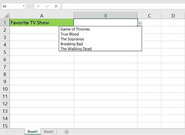 Printscreen of drop down list in Excel - the compelted list