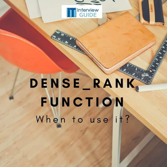 dense Rank function in my SQL